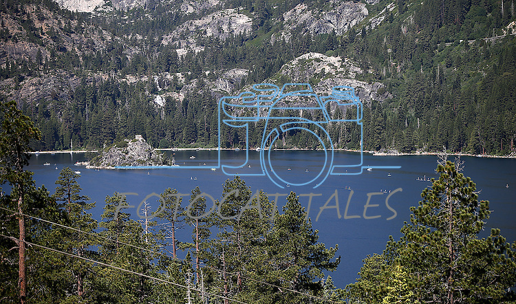 Hundreds of competitors participated in the 14.4-mile paddle board Race the Lake of the Sky race to Emerald Bay, near South Lake Tahoe, Ca., on Sunday, June 30, 2013.<br /> Photo by Cathleen Allison