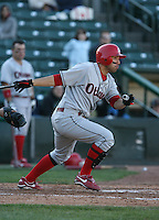2007:  Jason Jaramillo of the Ottawa Lynx follows through during an at bat vs. the Rochester Red Wings in International League baseball action.  Photo By Mike Janes/Four Seam Images