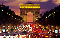 Champs-Elys?àes and Arc de Triumph. Traffic at night