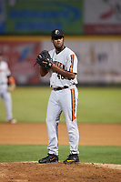 Aberdeen IronBirds relief pitcher Jose Diaz (40) gets ready to deliver a pitch during a game against the Tri-City ValleyCats on August 27, 2018 at Joseph L. Bruno Stadium in Troy, New York.  Aberdeen defeated Tri-City 11-5.  (Mike Janes/Four Seam Images)