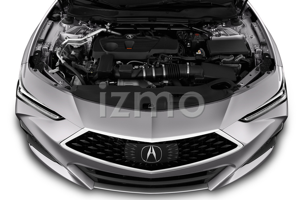 Car Stock 2021 Acura TLX Advance-Package 4 Door Sedan Engine  high angle detail view