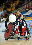 MISSISSAUGA, ON, AUGUST 14, 2015. Gold Medal Game in Wheelchair Rugby - CAN 57 vs USA 54 - Jason Crone.<br /> Photo: Dan Galbraith/Canadian Paralympic Committee