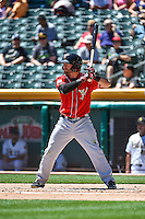 Casey McElroy (22) of the El Paso Chihuahuas at bat against the Salt Lake Bees in Pacific Coast League action at Smith's Ballpark on July 26, 2015 in Salt Lake City, Utah. El Paso defeated Salt Lake 6-3 in 10 innings. (Stephen Smith/Four Seam Images)