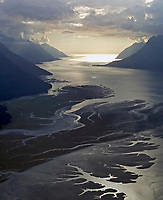 aerial photograph of Turnagain Arm toward the Cook Inlet near, Anchorage, Alaska