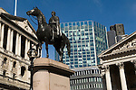 Bank of England City of London Skyline. Royal Exchange building Duke of Wellington Statue Royal Exchange Square. EC2