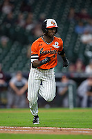 Darien Simms (4) of the Sam Houston State Bearkats hustles down the first base line against the Mississippi State Bulldogs in game eight of the 2018 Shriners Hospitals for Children College Classic at Minute Maid Park on March 3, 2018 in Houston, Texas.  Simms was called out for running inside the baseline. The Bulldogs defeated the Bearkats 4-1.  (Brian Westerholt/Four Seam Images)