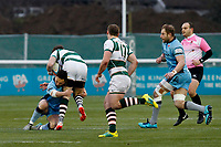 Jacob Perry of London Scottish tackling during the Greene King IPA Championship match between Ealing Trailfinders and London Scottish Football Club at Castle Bar , West Ealing , England  on 19 January 2019. Photo by Carlton Myrie/PRiME Media Images