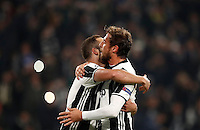 Calcio, Champions League: Gruppo H, Juventus vs Lione. Torino, Juventus Stadium, 2 novembre 2016. <br /> Juventus' Gonzalo Higuain, left, celebrates with teammate Claudio Marchisio after scoring on a penalty kick during the Champions League Group H football match between Juventus and Lyon at Turin's Juventus Stadium, 2 November 2016. The game ended 1-1.<br /> UPDATE IMAGES PRESS/Isabella Bonotto