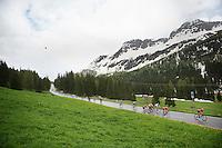 peloton descending the Passo San Pellegrino (1918m) in the rain<br /> <br /> 2014 Giro d'Italia<br /> stage 18: Belluno - Rifugio Panarotta (Valsugana), 171km