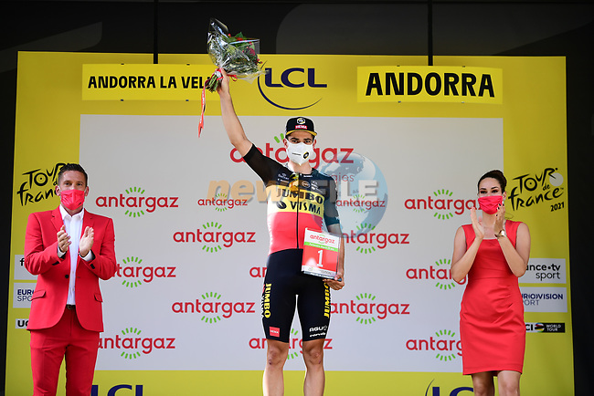 Belgian Champion Wout Van Aert (BEL) Jumbo-Visma wins the day's combativity prize at the end of Stage 15 of the 2021 Tour de France, running 191.3km from Ceret to Andorre-La-Vieille, France. 11th July 2021.  <br /> Picture: A.S.O./Pauline Ballet | Cyclefile<br /> <br /> All photos usage must carry mandatory copyright credit (© Cyclefile | A.S.O./Pauline Ballet)