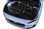 Car stock 2018 Hyundai i30 N Performance Pack Select Doors Door Hatchback engine high angle detail view