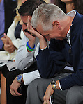Uncle Mo owner Mike Repole and trainer Todd Pletcher pull off a double facepalm while reacting to Mo's #18 draw at the post position draw for the 137th Kentucky Derby in the Secretariat Room at Churchill Downs in Louisville, Kentucky on May 4, 2011.