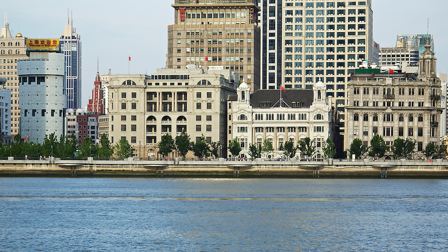 Asiatic Petroleum Building, Shanghai Club, And Union Building Bathed In Early Morning Light On The Shanghai Bund.