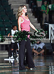 A North Texas Mean Green dance team member in action during the NCAA Women's basketball game between the University of Louisiana at Monroe Warhawks and the University of North Texas Mean Green at the North Texas Coliseum,the Super Pit, in Denton, Texas. ULM defeated UNT 50 to 47.