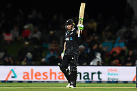 23rd March 2021; Christchurch, New Zealand;  Tom Latham of the Black Caps reaches 50 runs during the 2nd ODI cricket match, Black Caps versus Bangladesh, Hagley Oval, Christchurch, New Zealand.