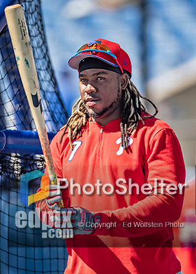 6 March 2019: Philadelphia Phillies infielder Maikel Franco awaits his turn in the batting cage prior to a Spring Training game against the Toronto Blue Jays at Dunedin Stadium in Dunedin, Florida. The Blue Jays defeated the Phillies 9-7 in Grapefruit League play. Mandatory Credit: Ed Wolfstein Photo *** RAW (NEF) Image File Available ***