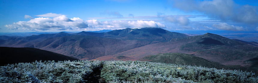A frosty morning on South Twin looking at Mt. Lafayette and the Pemigewasset wilderness, New Hampshire. Photograph by Peter E. Randall..