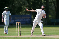 Shahbaz Khan in bowling action for Harold Wood during Wanstead and Snaresbrook CC vs Harold Wood CC, Hamro Foundation Essex League Cricket at Overton Drive on 17th July 2021