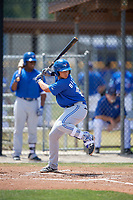 Toronto Blue Jays shortstop Bo Bichette (18) at bat during a minor league Spring Training game against the New York Yankees on March 30, 2017 at the Englebert Complex in Dunedin, Florida.  (Mike Janes/Four Seam Images)