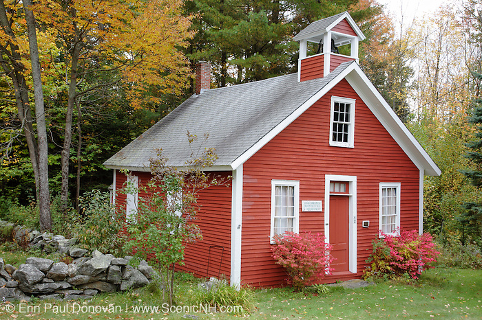 North District School house in the historical district of Dorchester, New Hampshire USA during the autumn months.