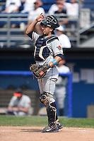 Connecticut Tigers catcher Tim Remes (56) during the first game of a doubleheader against the Batavia Muckdogs on July 20, 2014 at Dwyer Stadium in Batavia, New York.  Connecticut defeated Batavia 5-3.  (Mike Janes/Four Seam Images)