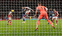 17th December 2020, Emirates Stadium, London, England;  Arsenals Rob Holding jumps to head away from a cross during the English Premier League match between Arsenal and Southampton