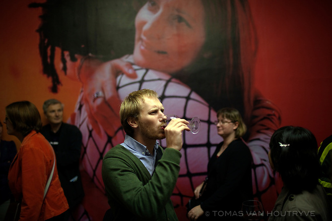 People visit a contemporary art exhibition by Praxis in Ljubljana, Slovenia on Oct. 23, 2011.