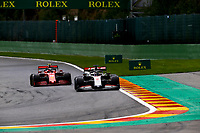 30th August 2020, Spa Francorhamps, Belgium, F1 Grand Prix of Belgium , Race Day;  8 Romain Grosjean FRA, Haas F1 Team, 16 Charles Leclerc MCO, Scuderia Ferrari Mission Winnow