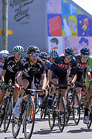 James Oram (NZ, left) and Taylor Gunman (NZ, 2nd left) ride through Martinborough Square.  Stage Three of the 2018 NZ Cycle Classic UCI Oceania Tour (Masterton to Martinborough) in Wairarapa, New Zealand on Friday, 19 January 2018. Photo: Dave Lintott / lintottphoto.co.nz