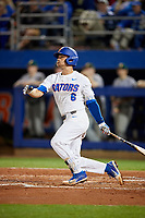 Florida Gators Jonathan India (6) hits a solo home run in the bottom of the fourth inning during a game against the Siena Saints on February 16, 2018 at Alfred A. McKethan Stadium in Gainesville, Florida.  Florida defeated Siena 7-1 in both teams opening game of the season.  (Mike Janes/Four Seam Images)