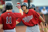 First baseman Tyler Kuresa (48) of the Elizabethton Twins in a game against the Johnson City Cardinals on Sunday, July 27, 2014, at Howard Johnson Field at Cardinal Park in Johnson City, Tennessee. The game was suspended due to weather in the fifth inning. (Tom Priddy/Four Seam Images)