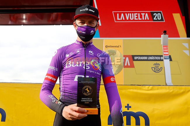 Alexander Molenaar (NED) Burgos-BH most aggressive rider from yesterday's stage at sign on before the start of Stage 11 of the Vuelta Espana 2020 running 170km from Villaviciosa to Alto de la Farrapona, Spain. 31st October 2020.    <br /> Picture: Luis Angel Gomez/PhotoSportGomez | Cyclefile<br /> <br /> All photos usage must carry mandatory copyright credit (© Cyclefile | Luis Angel Gomez/PhotoSportGomez)