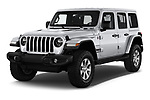 2018 Jeep Wrangler Unlimited Sahara 5 Door SUV angular front stock photos of front three quarter view