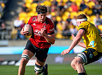 Crusaders' Scott Barrett runs at James Blackwell during the Super Rugby Aotearoa match between the Hurricanes and Crusaders at Sky Stadium in Wellington, New Zealand on Sunday, 11 April 2020. Photo: Dave Lintott / lintottphoto.co.nz