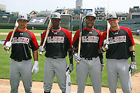 August 8, 2009:  Home Run Derby members Alex Lavisky, Trey Griffin, Yordy Cabrera, Nick Castellanos for the Under Armour All-America game at Wrigley Field in Chicago, IL.  Photo By Mike Janes/Four Seam Images