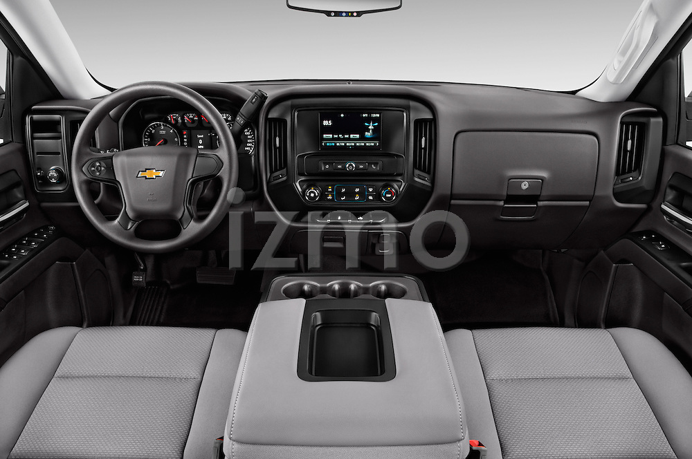 Stock photo of straight dashboard view of 2016 Chevrolet Silverado 1500 LS 4 Door Pickup Dashboard