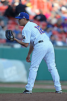 Buffalo Bisons pitcher Jose De La Torre #12 delivers a pitch during a game against the Syracuse Chiefs at Dunn Tire Park on April 7, 2011 in Buffalo, New York.  Syracuse defeated Buffalo 8-5.  Photo By Mike Janes/Four Seam Images
