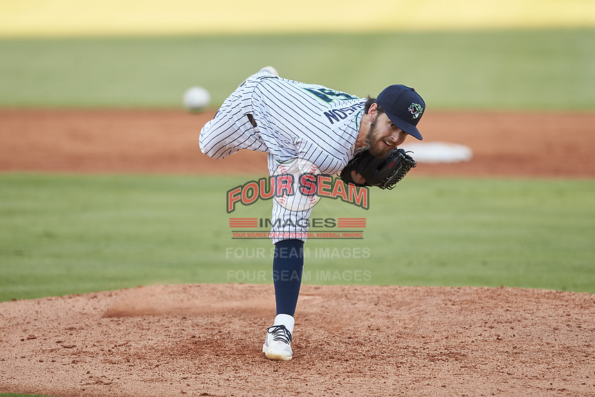Gwinnett Stripers starting pitcher Ian Anderson (51) delivers a pitch to the plate against the Scranton/Wilkes-Barre RailRiders at Coolray Field on August 18, 2019 in Lawrenceville, Georgia. The RailRiders defeated the Stripers 9-3. (Brian Westerholt/Four Seam Images)
