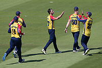 Jack Plom of Essex celebrates with his team mates after taking the wicket of David Lloyd during Glamorgan vs Essex Eagles, Vitality Blast T20 Cricket at the Sophia Gardens Cardiff on 13th June 2021