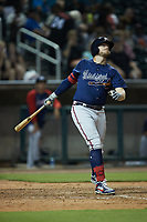 Greyson Jenista (5) of the Mississippi Braves follows through on his swing against the Birmingham Barons at Regions Field on August 3, 2021, in Birmingham, Alabama. (Brian Westerholt/Four Seam Images)