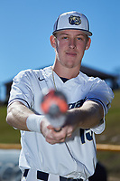 Wingate Bulldogs freshman Mitch Farris (15) poses for a photo prior to the game against the Concord Mountain Lions at Ron Christopher Stadium on February 2, 2020 in Wingate, North Carolina. The Mountain Lions defeated the Bulldogs 12-11. (Brian Westerholt/Four Seam Images)
