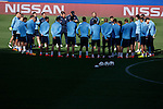Atletico's coach Diego Simeone with his players during a training session the day before quarterfinal first leg Champions League soccer match against Real Madrid at Vicente Calderon stadium in Madrid, Spain. April 13, 2015. (ALTERPHOTOS/Victor Blanco)