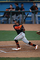 Luis Matos (18) of the San Jose Giants bats against the Rancho Cucamonga Quakes at LoanMart Field on August 19, 2021 in Rancho Cucamonga, California. (Larry Goren/Four Seam Images)