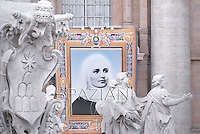 A tapestry with the image of Colombian Laura Montoya Upegui hangs in St.Peter's square at the Vatican .Pope Francis  the Canonization mass of Italian Antonio Primaldo and his companions, Colombian Laura Montoya Upegui and Mexican Maria Guadalupe Garcia Zavala in St.Peter's square at the Vatican  on May 12, 2013