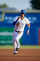Dunedin Blue Jays second baseman Cavan Biggio (4) running the bases during a game against the St. Lucie Mets on April 20, 2017 at Florida Auto Exchange Stadium in Dunedin, Florida.  Dunedin defeated St. Lucie 6-4.  (Mike Janes/Four Seam Images)
