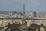 View of the Eiffel Tower from the Montparnasse building and observatory, Paris, France.