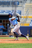 Tampa Bay Rays Osleivis Basabe (83) bats during a Minor League Spring Training game against the Atlanta Braves on June 1, 2021 at Charlotte Sports Park in Port Charlotte, Florida.  (Mike Janes/Four Seam Images)
