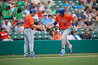 Syracuse Mets manager Tony DeFrancesco (11) congratulates Travis Taijeron (19) after hitting a home run during an International League game against the Indianapolis Indians on July 17, 2019 at Victory Field in Indianapolis, Indiana.  Syracuse defeated Indianapolis 15-5  (Mike Janes/Four Seam Images)