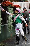 ELMONT, NY - OCTOBER 08: Joel Rosario, shaking hands with a fan, after his win of the, Winthrop University Hospital's Breast Health Center Race, on Jockey Club Gold Cup Day at Belmont Park on October 8, 2016 in Elmont, New York. (Photo by Douglas DeFelice/Eclipse Sportswire/Getty Images)