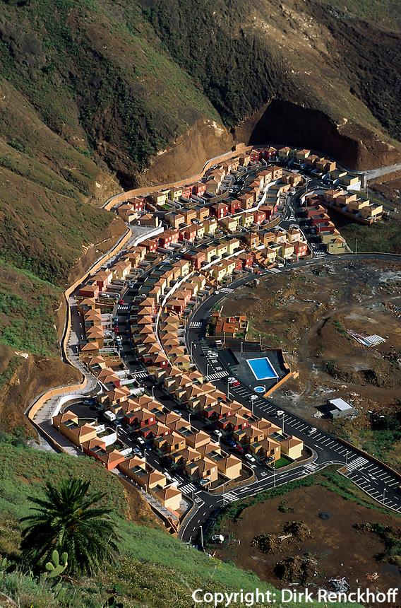 Spanien, Kanarische Inseln, La Palma,  Santa Cruz, Blick vom Mirador de la Concepcion, Siedlung La Cuesta